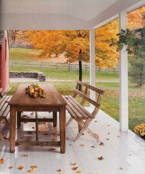 Picture of cozy fall patio decor ideas - Artistic wood clad design for warm essence in your house ...