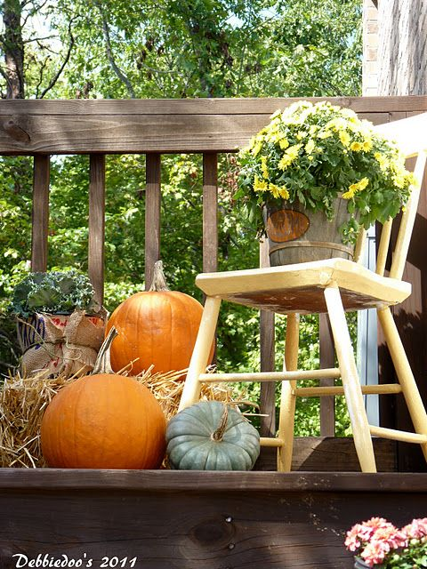 Patio chair could become a nice stand for a planter or an interesting Fall composition.