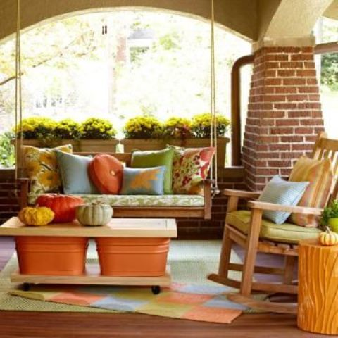 cozy fall patio decorating ideas displaying pumpkins is always a safe choice - Patio Decor