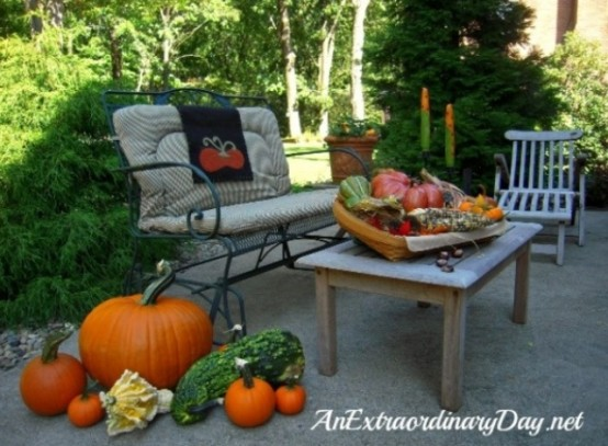 Patio Seating Pluped With Pumpkins