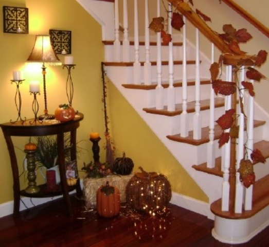 35 Cozy Fall Staircase Decor Ideas Digsdigs