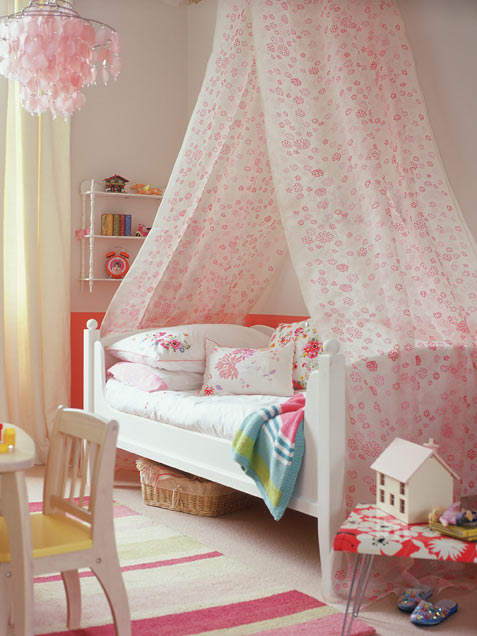 Cozy Girl Bedroom With High Canopy Draped Over A Bed