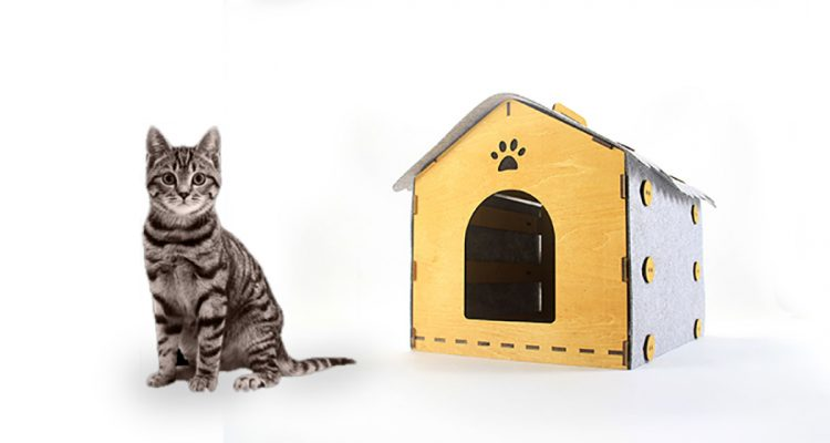 Cozy Indoor Cat House Designed In Wood And Felt - DigsDigs