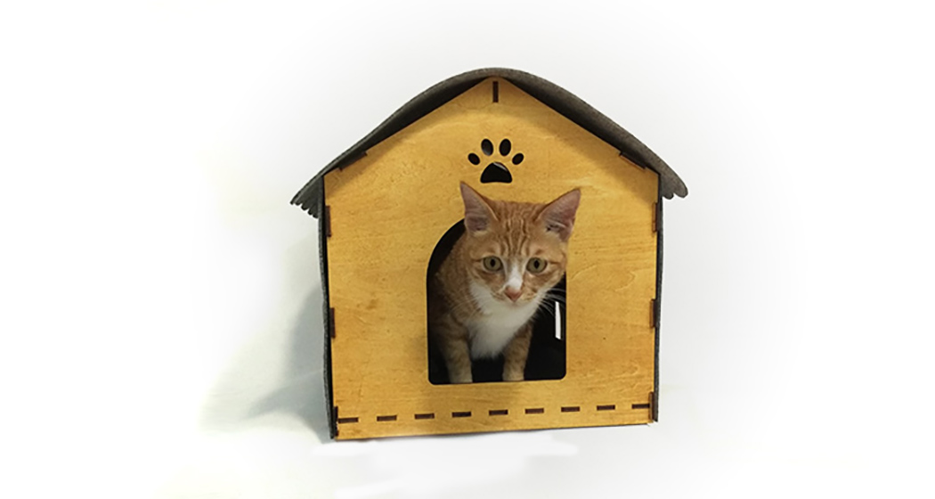 Picture Of cozy kitty digs from wood and felt  2