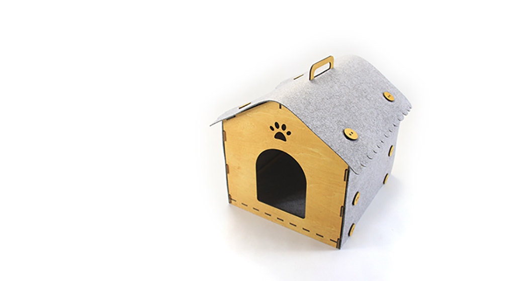 Picture Of cozy kitty digs from wood and felt  3