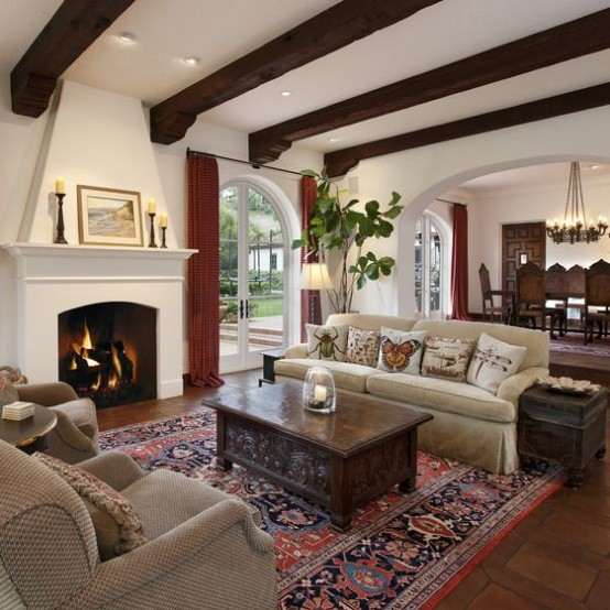 36 cozy living room designs with exposed wooden beams for 36 living room ideas
