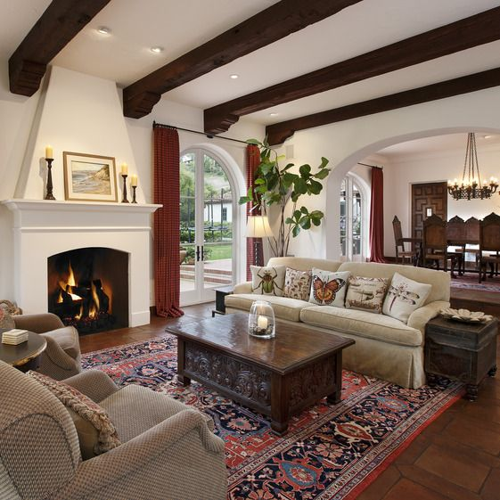 Picture Of cozy living room designs with exposed wooden beams  10