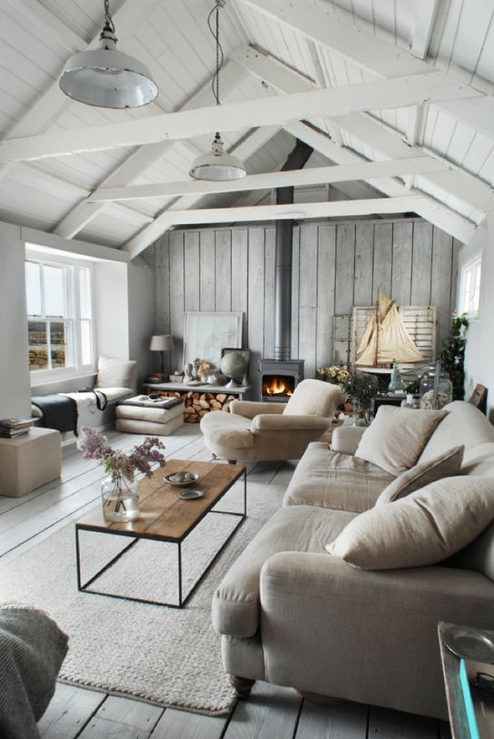 36 cozy living room designs with exposed wooden beams for Cozy living room designs
