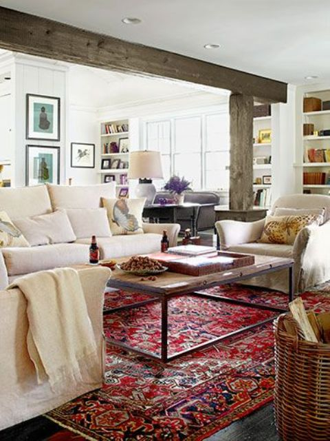 cozy living room designs with exposed wooden beams 16