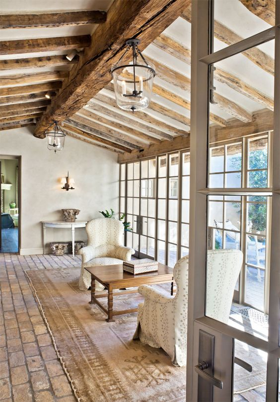 Picture Of cozy living room designs with exposed wooden beams  17