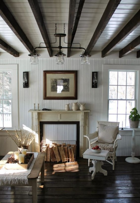 36 Cozy Living Room Designs With Exposed Wooden Beams
