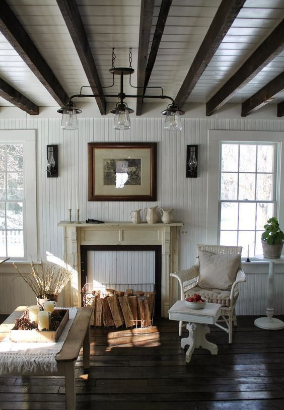 Picture Of cozy living room designs with exposed wooden beams  24
