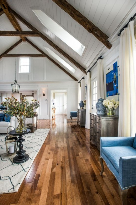 Cozy Living Room Designs With Exposed Wooden Beams