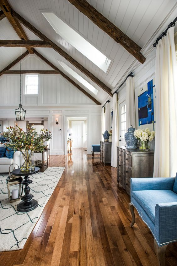 Picture Of cozy living room designs with exposed wooden beams  29