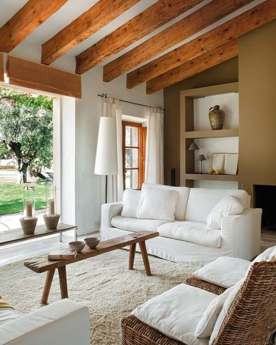 36 cozy living room designs with exposed wooden beams - Wood beams in living room ...