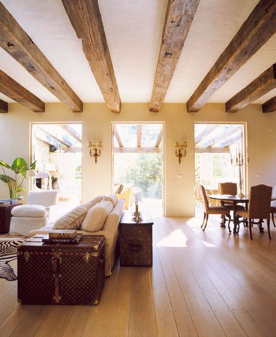 Picture Of cozy living room designs with exposed wooden beams  34