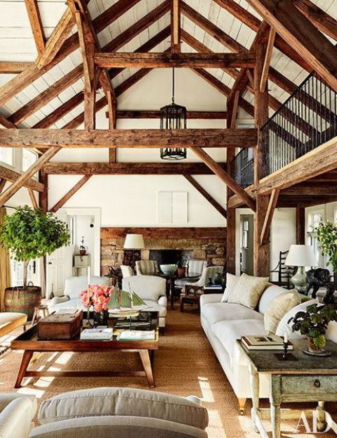 Room Construction Design: 36 Cozy Living Room Designs With Exposed Wooden Beams