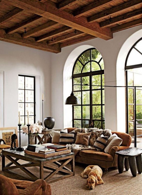 36 cozy living room designs with exposed wooden beams - digsdigs