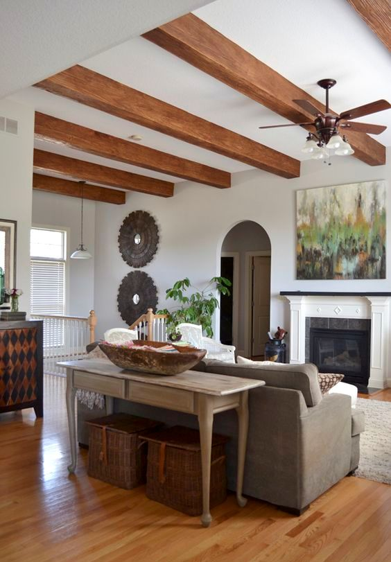 Picture Of cozy living room designs with exposed wooden beams  9