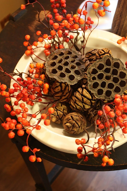 a whimsy fall centerpiece of a bowl pinecones, berries and lotus for a quriky touch