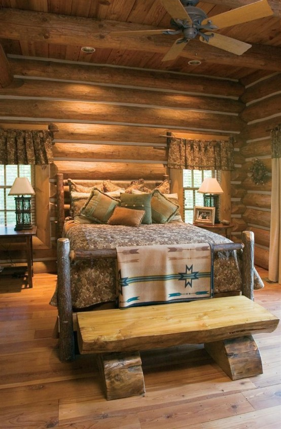 Rustic Bedroom Design Ideas With Wood Wall Decor Pictures