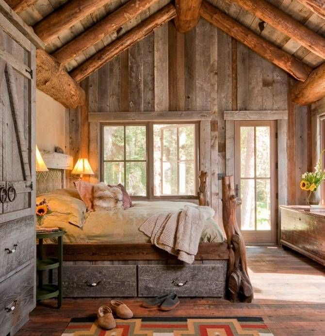 45 cozy rustic bedroom design ideas digsdigs for Cabin bedroom designs