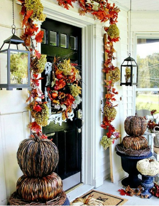 The cool thing about faux decorations is that you can use them several years in a row. Each year you simply need to find all these beautiful faux pumpkins, leaves, garlands, and fall blooms and make a new display of them.
