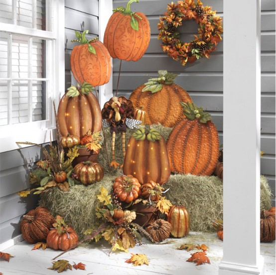 There are so many beautiful ways to use faux pumpkins in fall and thanksgiving displays. You just need to choose which you like the most.