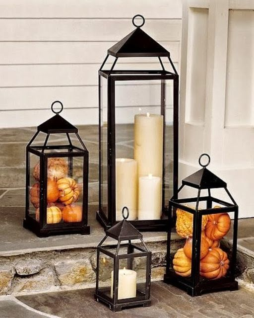 Lanterns are great fall decorations. You can use them with candles but you can also stuff them with mini pumpkins.