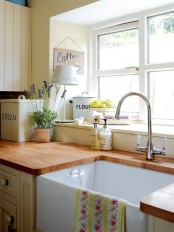 a cozy farmhouse-style kitchen design with a wooden countertop