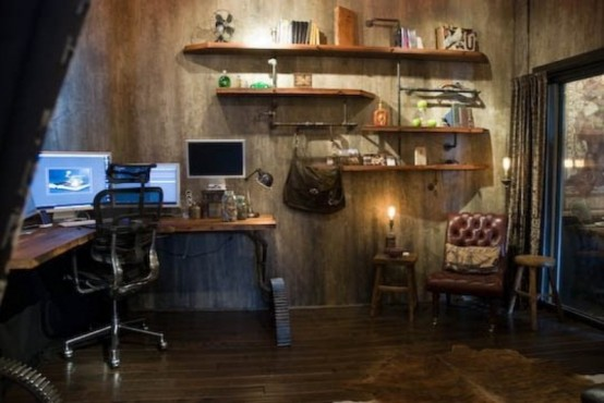 Steampunk office decor Industrial Crazy Steampunk Home Offices Digsdigs 28 Crazy Steampunk Home Office Designs Digsdigs