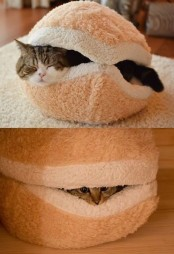 a fun burger cat bed will add a touch of humor to your space and will be a nice retreat to hide in