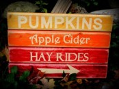 a gradient fall sign in yellow, orange, fuchsia and burgundy and white letters is a bold idea for decor