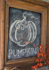 a chalkboard sign in a stained frame – chalk whatever you like on it and enjoy
