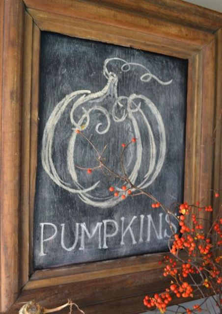 a chalkboard sign in a stained frame - chalk whatever you like on it and enjoy