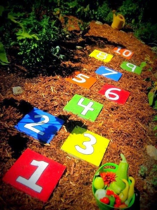 substitute usual stepping stones in the garden with bright numbers to let kids jump and learn numbers at the same time