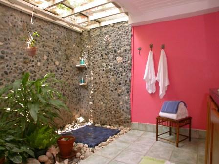 Creative Bathroom With A Pink Wall