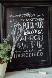 make some cool chalkboard signs in frames to spruce up your kitchen decor and make it cooler