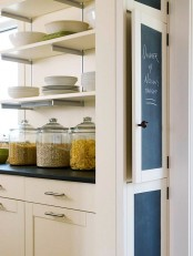 a cabinet door done with chalkboard paint is a stylish idea for a farmhouse kitchen that allows you leaving notes when you want
