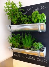a mini garden with a chalkboard backdrop and some herbs growing, they all can be marked on the chalkboard