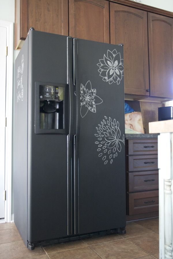 a fridge renovated with chalkboard paint and with some art on it looks awesome and very refreshing, it adds a modern feel to the space