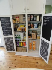 a cool pantry made functional with chalkboard doors