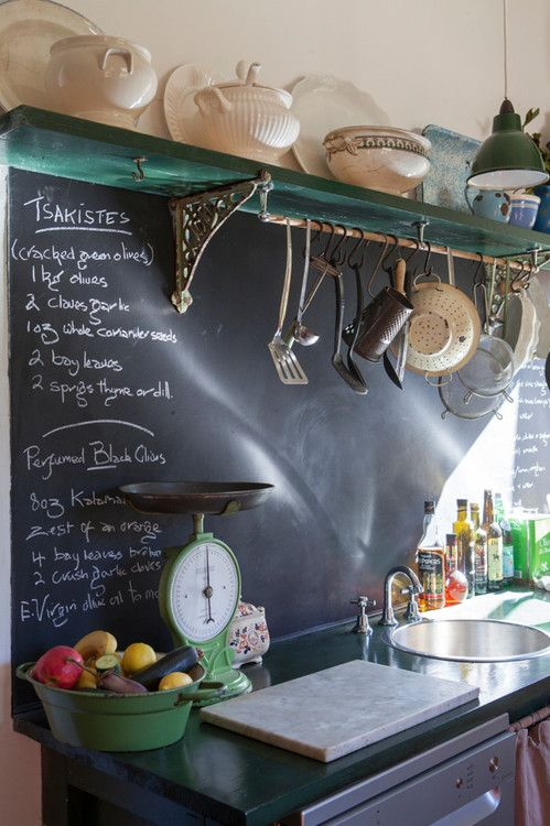 a chalkboard backsplash with notes is always a good idea, and it's easy to renovate it anytime