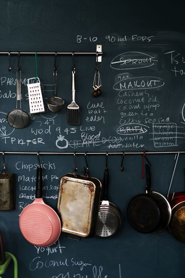 a chalkboard with railings and hooks is a stylish idea for many kinds of kitchens, whatever style you prefer