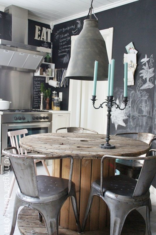 a Nordic kitchen with chalkboard walls, stainless steel appliances and stools, a concrete lamp and a wooden table