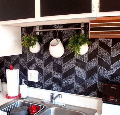 a chalkboard backsplash is a piece for creativity and it's functional, renovating it won't take much time or money