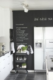 a chalkboard wall is a chic and stylish idea for a kitchen, you write down recipes and all the necessary stuff