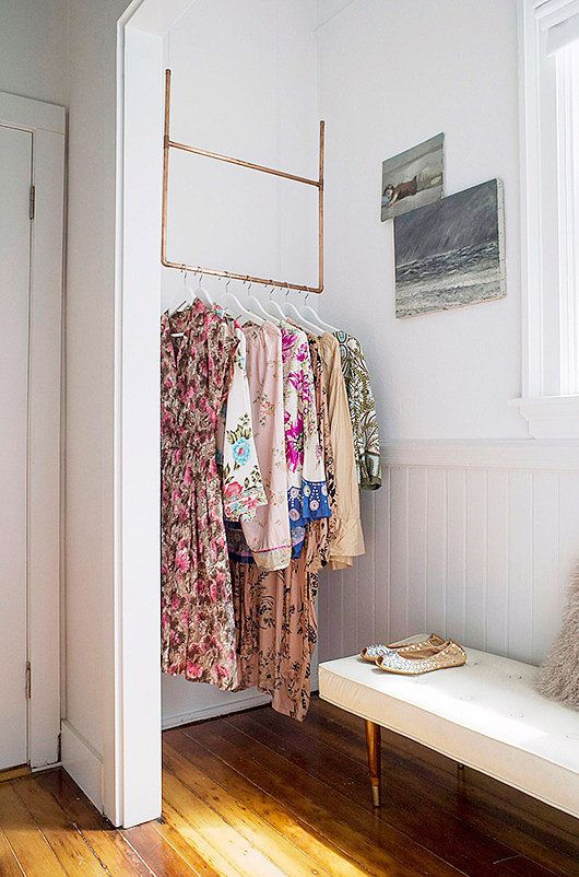 18 creative clothes storage solutions for small spaces No closet hanging solutions