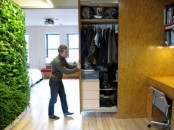 a whole closet hidden in the wall and retracted when needed is a cool idea for small homes – you won't need a separate room