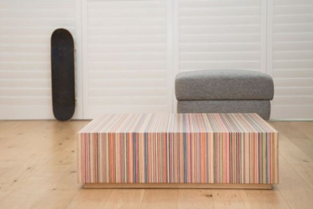 Picture Of creative coffee table from upcycled skateboard decks  1